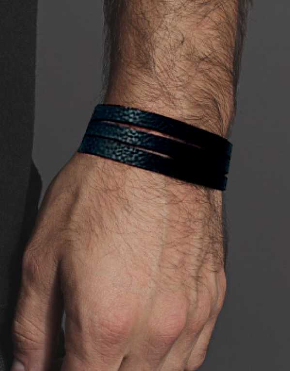Black Slit unisex Leather Wrist band