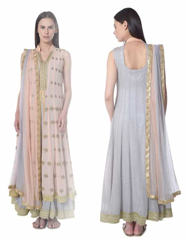 14. Peach Double Layered Anarkali