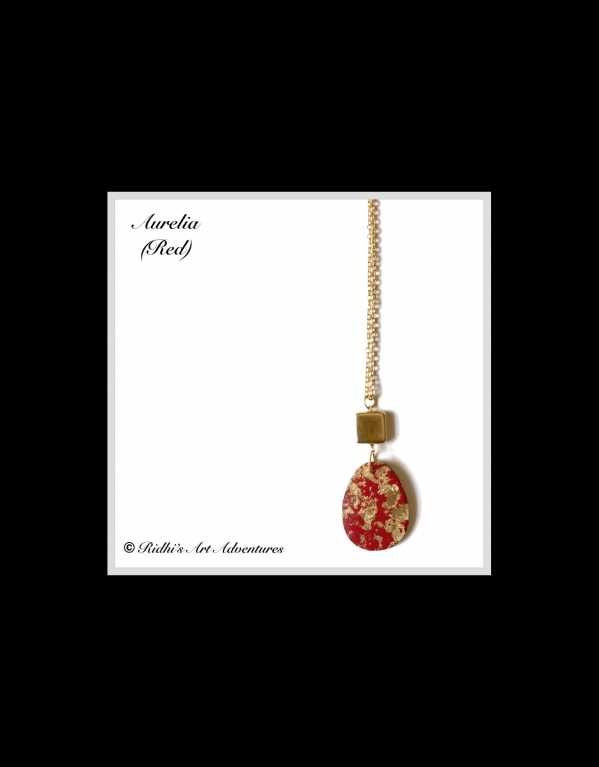 Aurelia (Red) - Handpainted Gold Leaf and Red Necklace