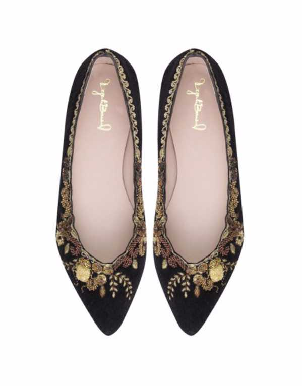 Black and Gold Embroidered Fur Ballerinas, Dyuti Bansal, Rs. 12,000