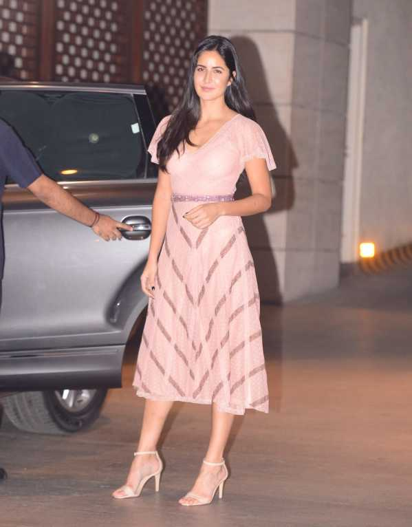 Katrina Kaif wearing a Luisa Beccaria soft blush dress