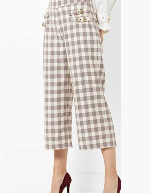 High-Waist Checked Culottes with Buckles, Ajio; Rs. 1499