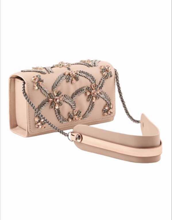 Beige Pipe Beads & Crystal Embellished Sling Bag, Abhishek Kankaria for Whatever, Rs.5000