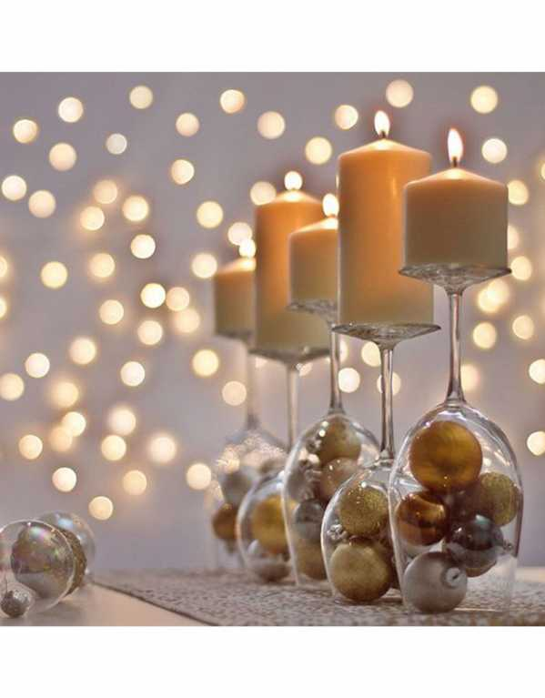 Christmas Decorations as Candle Stands