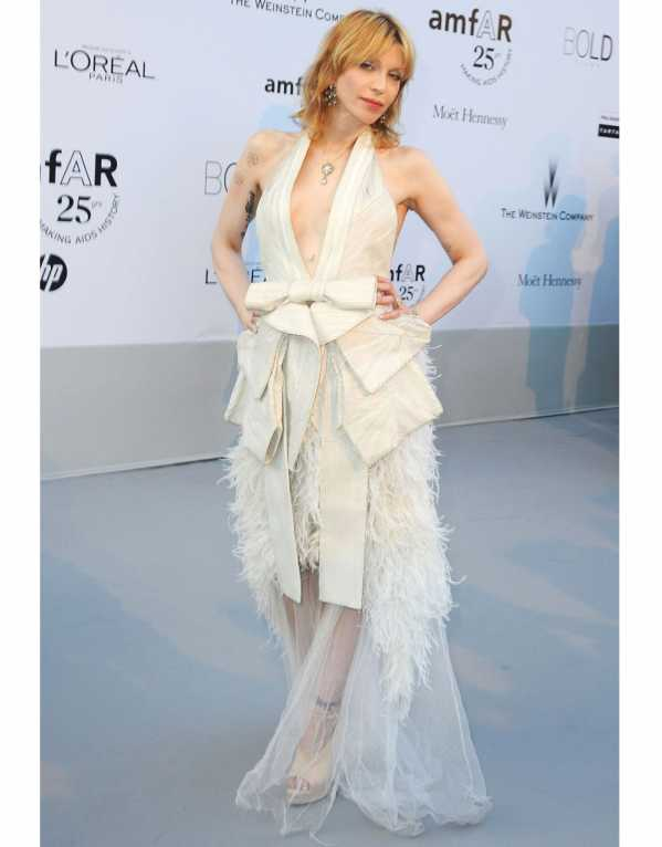 Courtney Love in an absolutely gorgeous tulle and feathered, halter gown at amfAR's Cinema Against AIDS Gala in 2011