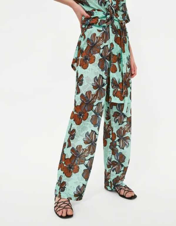 Floral Print Textured Trousers, Zara, Rs.1790