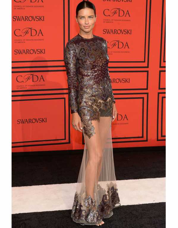 Adriana Lima in a stunning embellished gown with a sheer skirt at the CFDA 2013