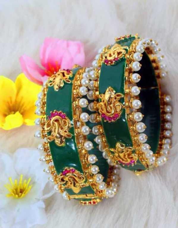 Pearl Drop Ganesha Bangles by Amreli Jaipur