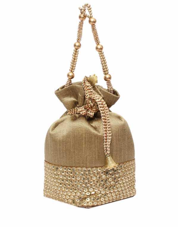 Silk Potli Batwa Pouch Bag With Metal Beadwork, Bagaholics, Rs.1000