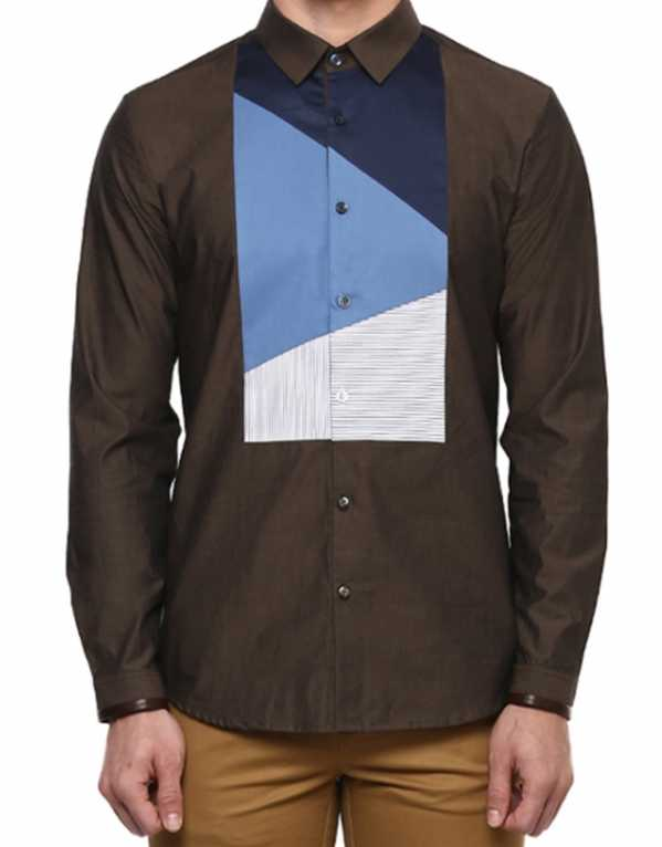 Galanthus Brown Cut and Sew Shirt, Lacquer Embassy; Rs. 5,950