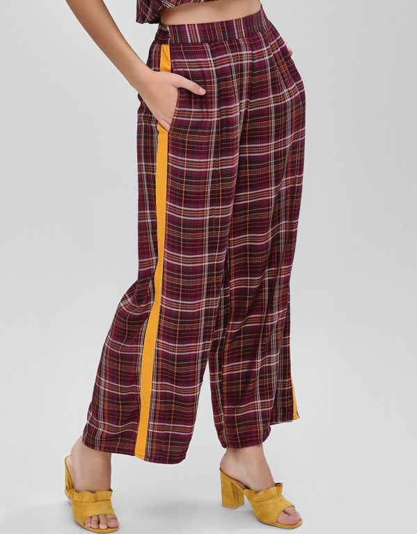 Side Tape Checkered Trousers, Ri-Dress for Koovs; Rs. 1395