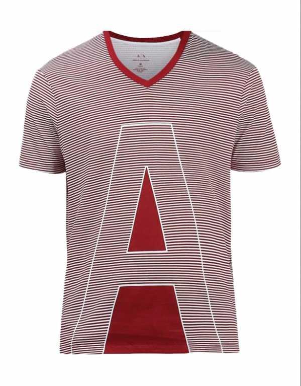 White and Rhubarb Striped T-shirt, Armani Exchange, Rs.3,999
