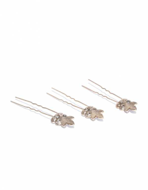 Set of 3 Floral Embellished Hair Pins, Accessorize; Rs.538