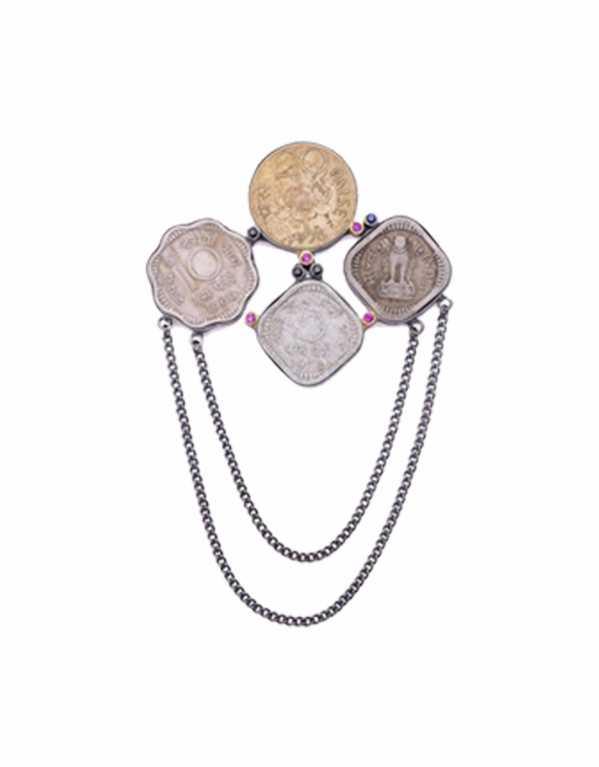 Vintage Coin Brooch, Rs. 2450, Azga