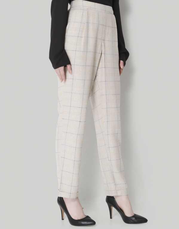 Brown Checks Mid Rise Regular Fit Pants, Vero Moda, Rs.1000