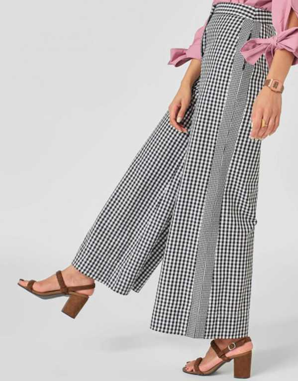 Monochrome Gingham Flare Pants; The Label Life; Rs. 1295