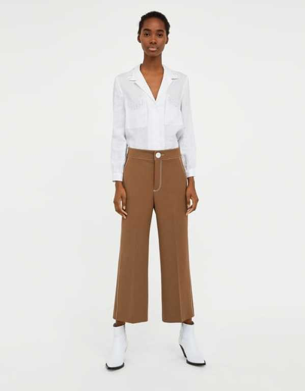 Beige Trousers with Contrasting Top Stitching, Zara, Rs.3490