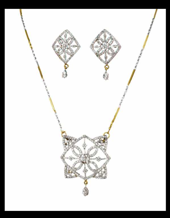 Antique Gold Look American Diamond Pendant Set