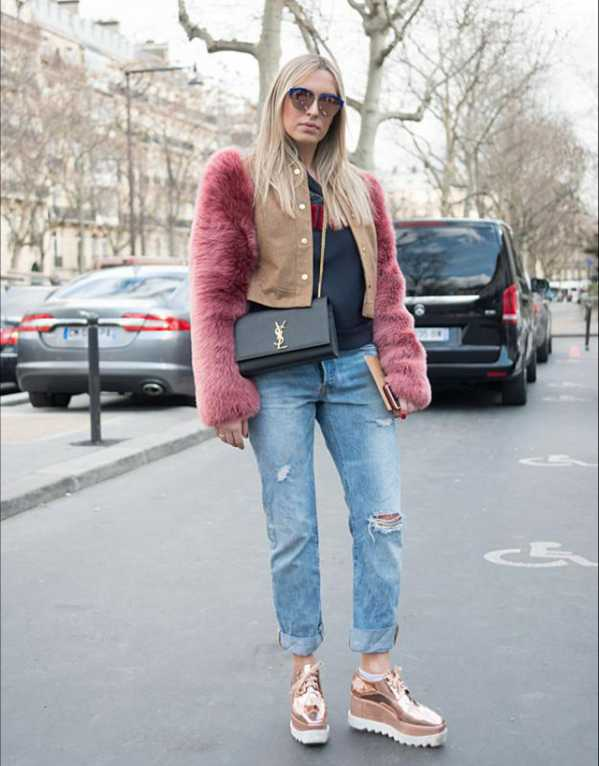 Go the Parisian route! Add a cropped faux fur jacket with cuffed jeans and platform sneakers.