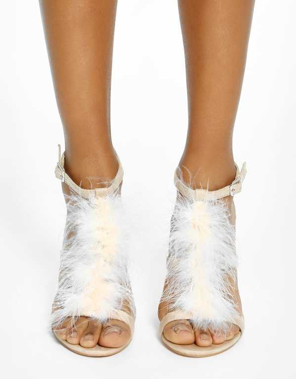 1. INTOTO Suede Furry Heeled Sandals