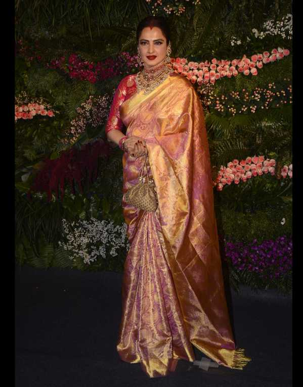 Rekha being her glamorous self in a jaw-dropping silk saree from her personal collection