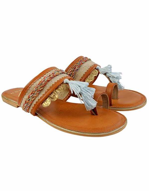 Tan Coin Nomad chappals, GUSH, Rs. 2400