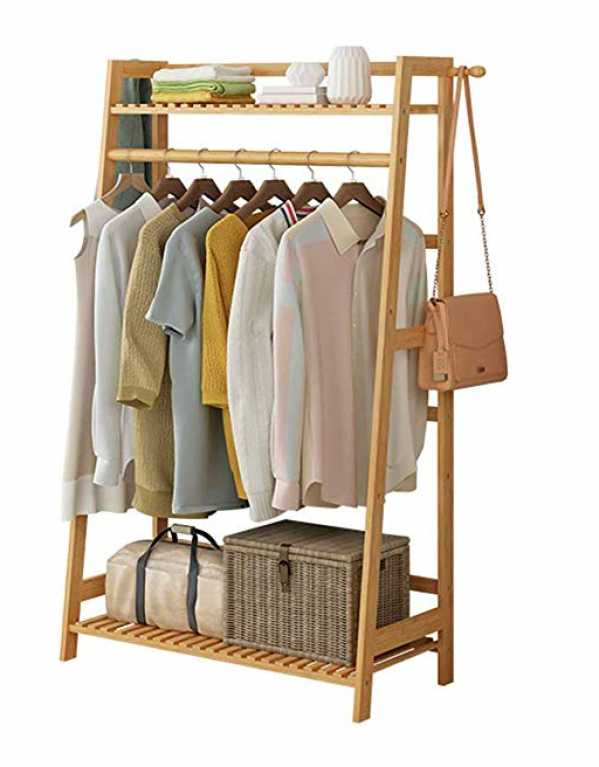 5. House of Quirk Bamboo Garment Hanging Rack