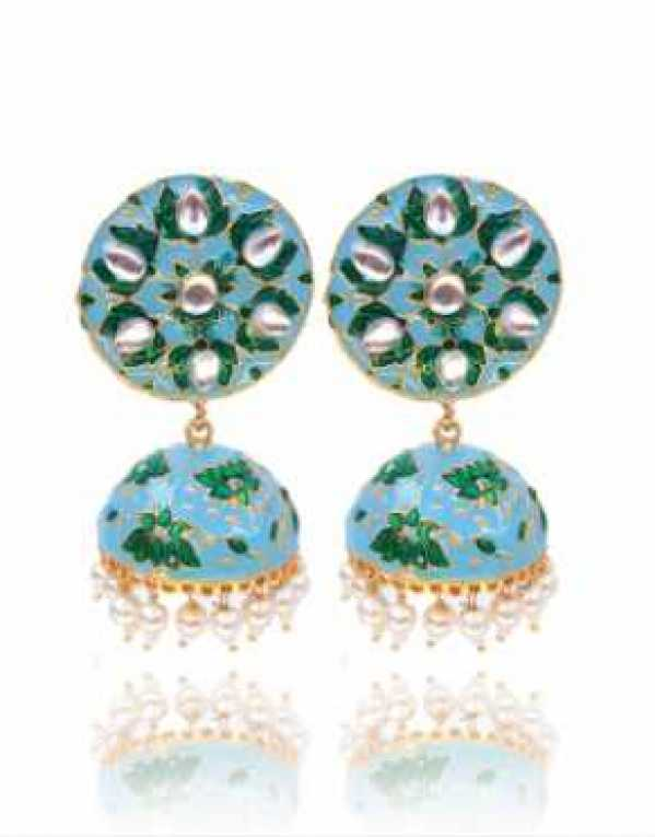 Traditional Blue Green Meenakari Jhumka Earring