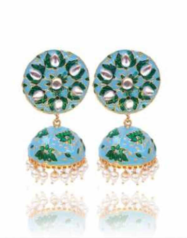 Traditional Blue Green Meenakari Jhumka Earring