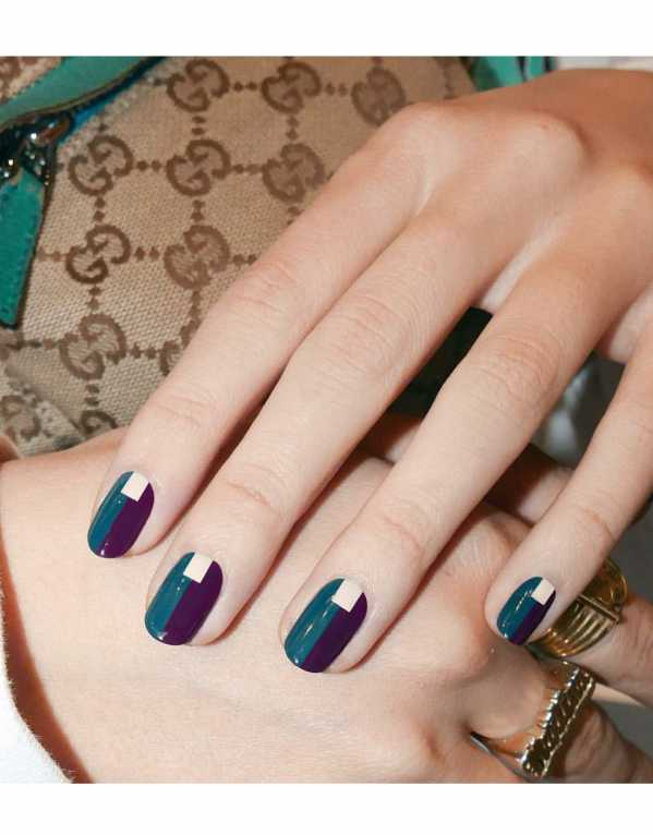 Colourblock your nails with chic, day-to-night colours like teal and purple. Add a section of white for a cool dimension