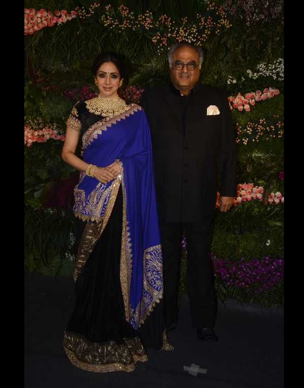 Sridevi looking regal in a Manish Malhotra saree with real Zari and Tilla embroidery from Kashmir