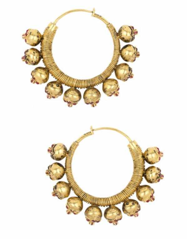Gold Plated Red Stone Flower Motifs Hoop Earrings, Blue Turban, Rs. 14,930