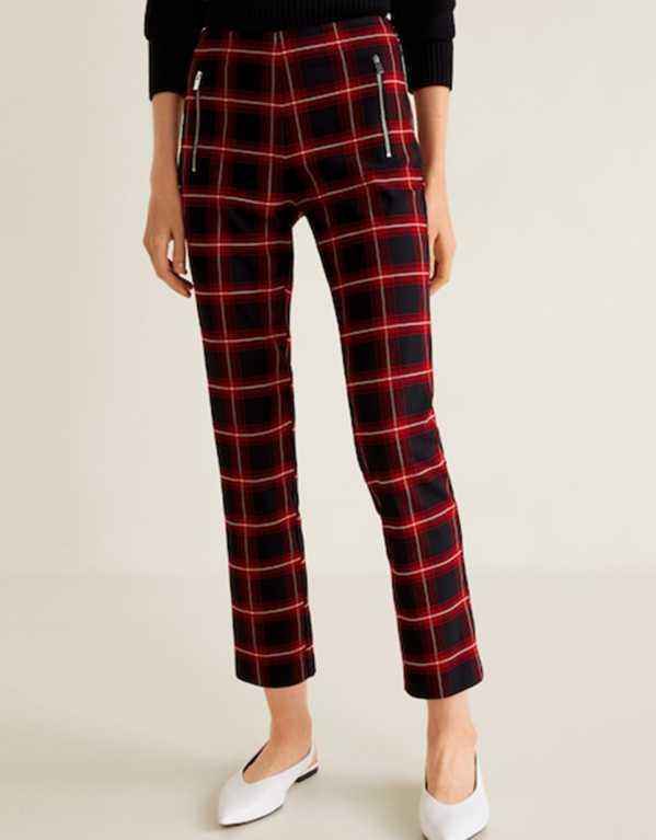 Zipped Check Trousers, Mango; Rs. 4490