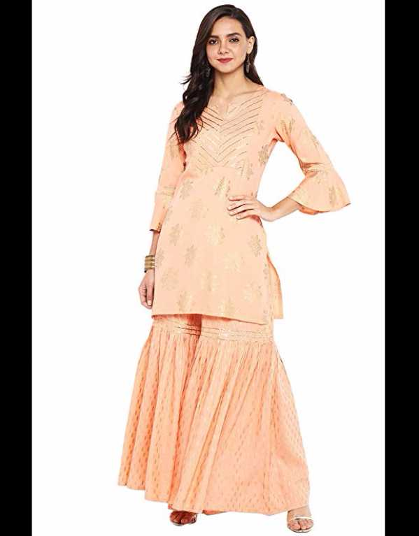 4) Peach Rayon Short Kurti With Sharara