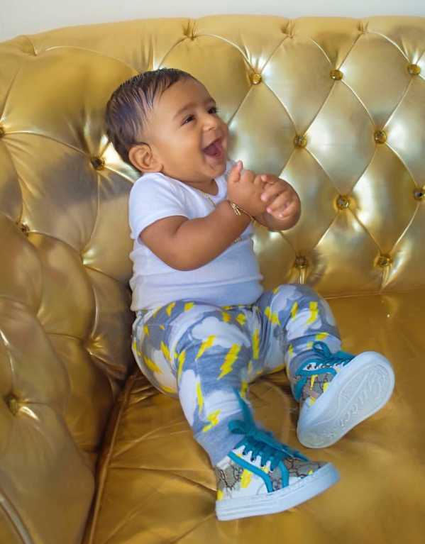 Having a ball on Lenny Santiago's gold couch!