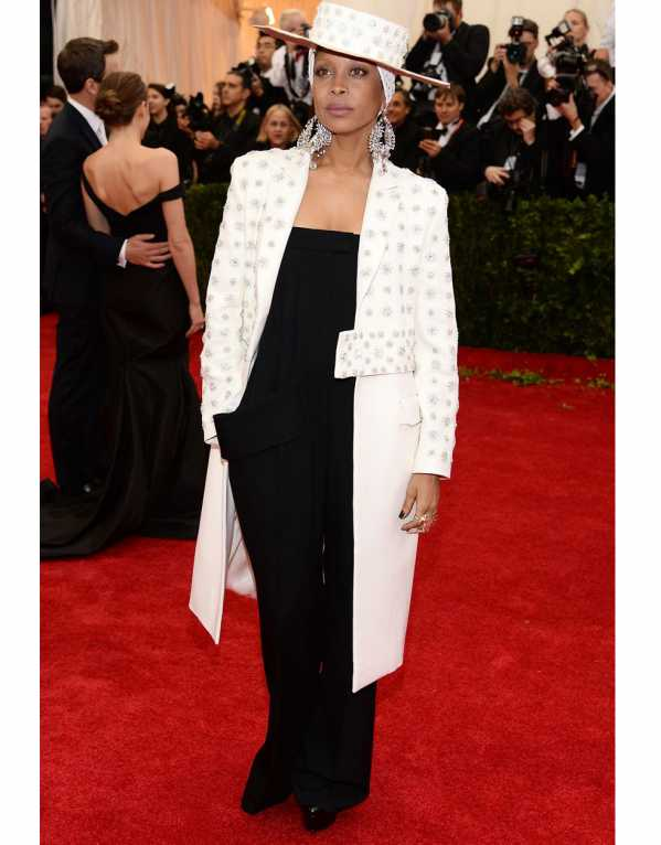 """Erykah Badu in an edgy, literally """"head"""" to toe creation by the fashion house at the 2014 MET Gala"""