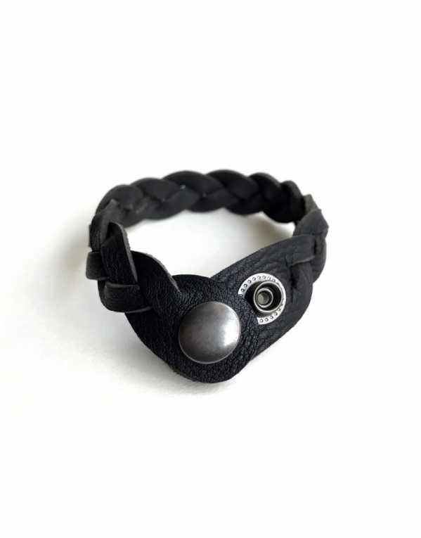am Hardy Black braided unisex Leather Wrist band