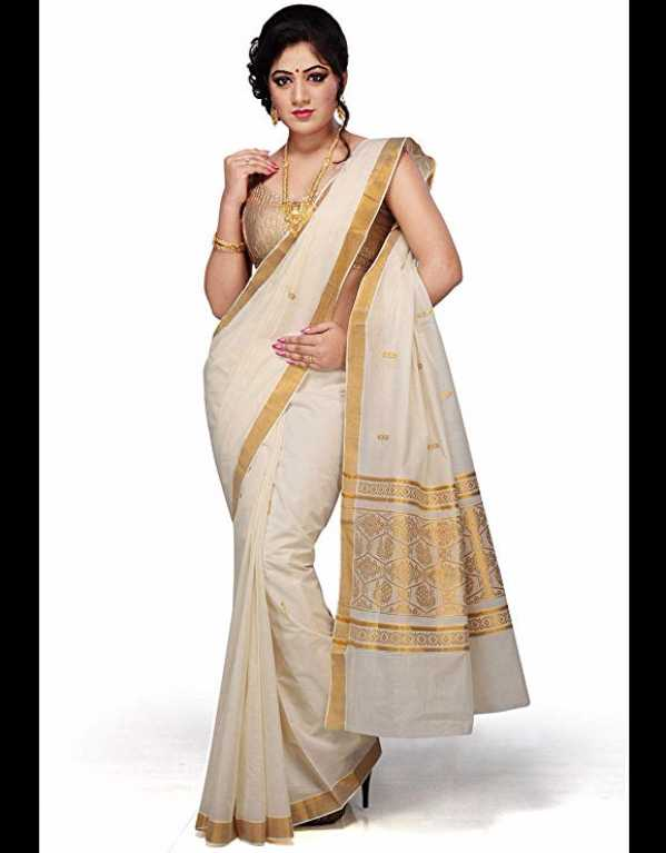 2) White Kerala Cotton Saree