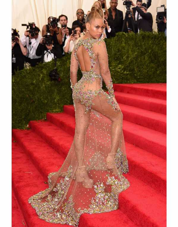 Beyonce quite literally turned heads in this risqué, sheer and embellished gown at the MET Gala in 2015