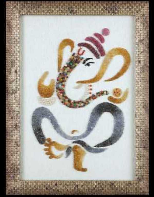 Ganeshji Precious Gem Stones Painting