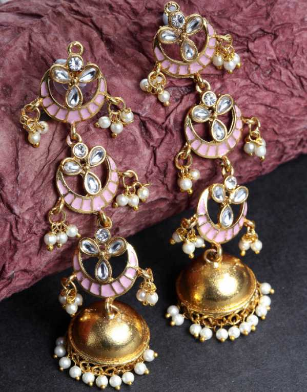4.	Priyaasi Gold-Plated & Pink Dome Shaped HandPainted Jhumkas