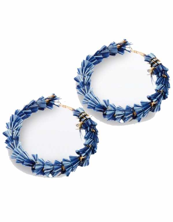 Bright Blue Wrapped Tassel Hoop Earrings, New Look, Rs. 724