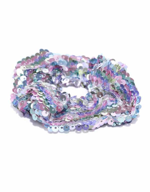 Blue & pink Sequinned Hair Scrunchie, Accessorize; Rs. 278