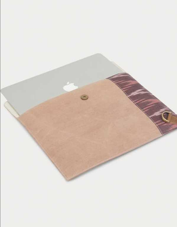Pink Handcrafted Canvas and Leather Laptop Sleeve, The Burnt Soul on Jaypore.com, Rs. 1500