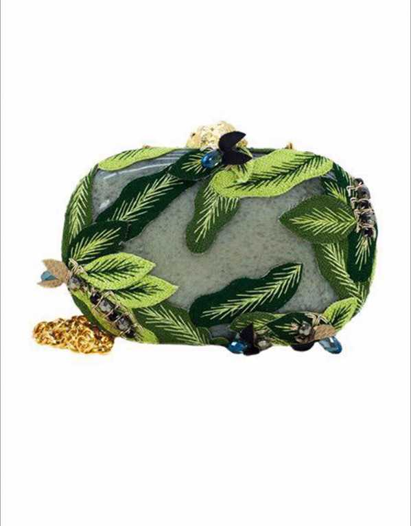 Green Leaf and Bug Embellished Clutch, On Our Own, Rs 10029