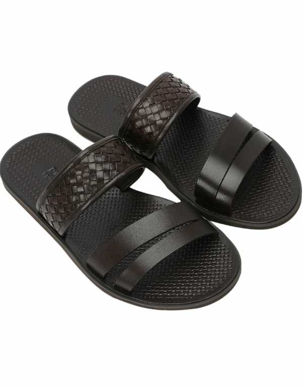 Knitted Strap Slide Sandals, Rosso Brunello; Rs.5,199