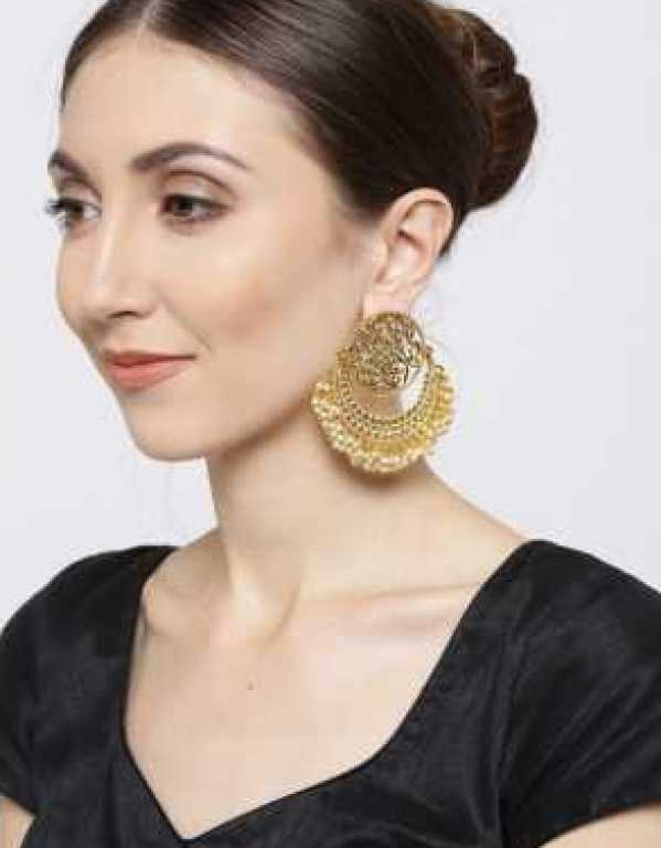 Gold Toned Designer Earrings with Pearl Drops