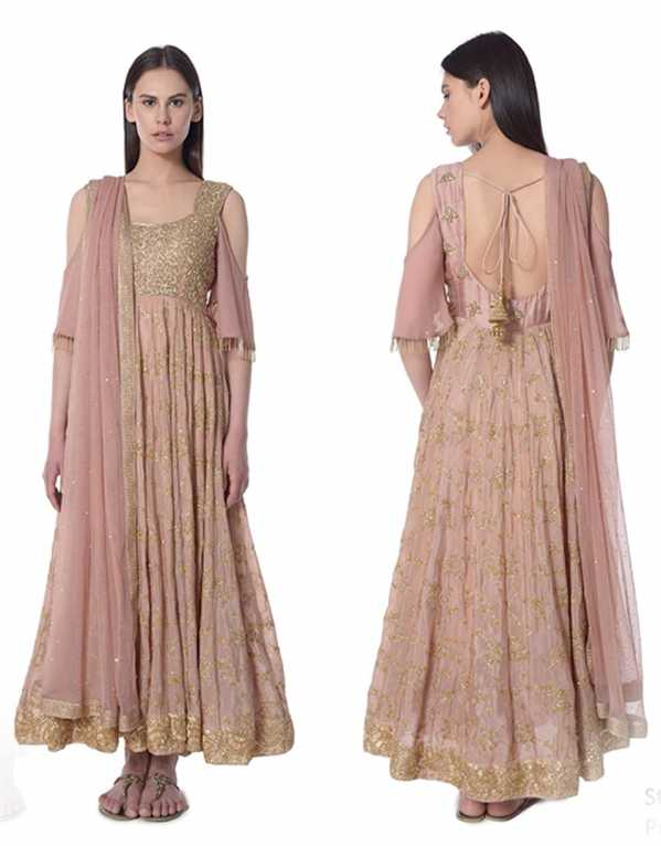 7. Salmon Pink Cold Shoulder Anarkali