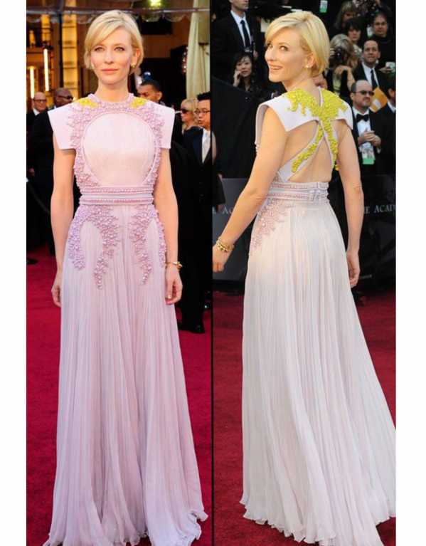 Cate Blanchett wore a modest lilac chiffon dress with yellow details at the 2011 Oscars