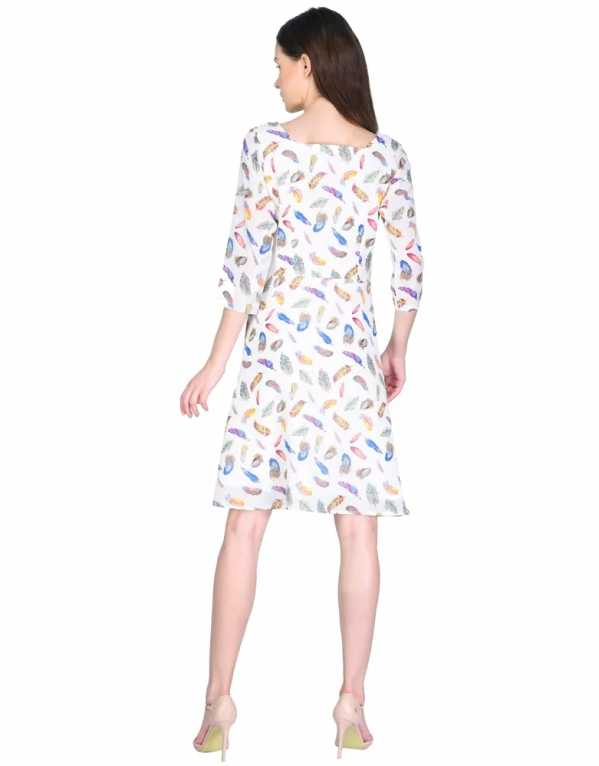 Feather Print Georgette Shift Dress